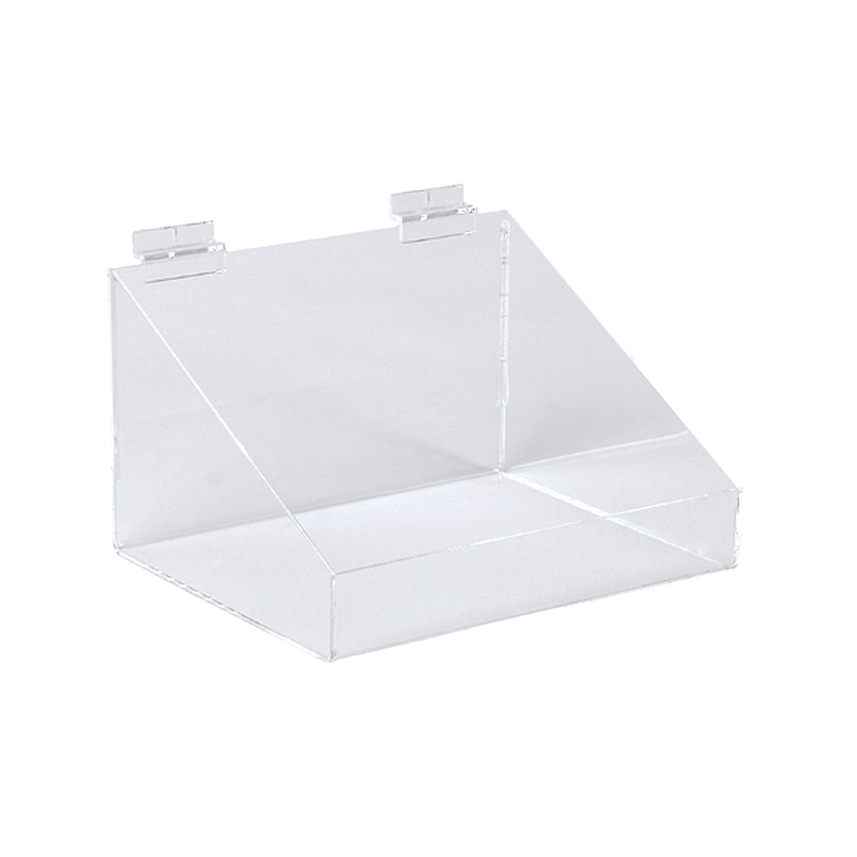 Slatwall acrylic display bin with low front  293 W x 200 D x 150 mm H