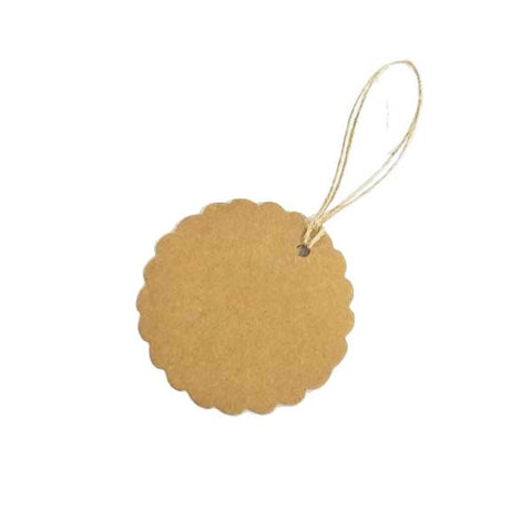 Circle Scallop Swing Tag Brown 50mm DIA (100pcs/pack)