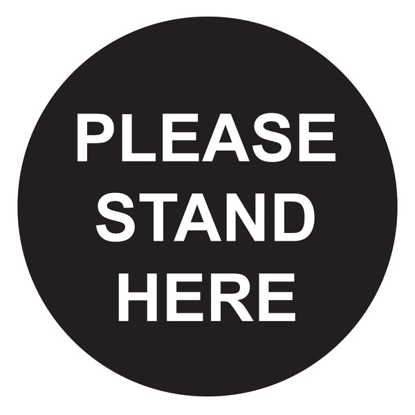 "Pkt of 10 - ""Please Stand Here"" Anti-slip Floor Sticker 250mmD TR9901"