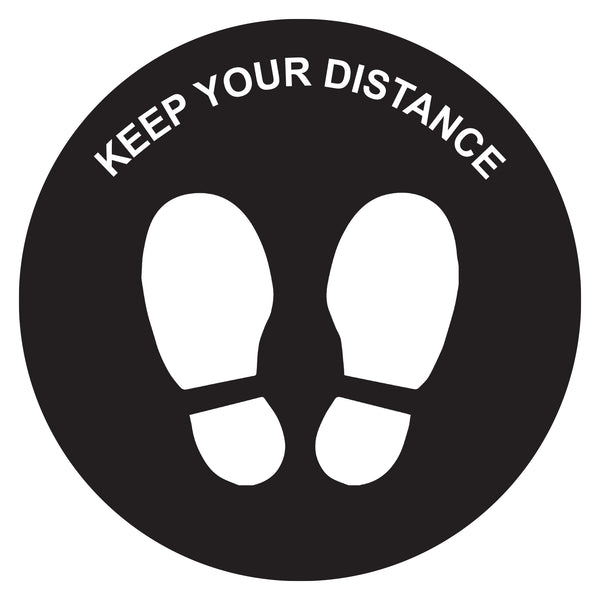 "Pkt of 10 - ""Keep Your Distance"" Anti-slip Floor Sticker 250mmD TR9902"