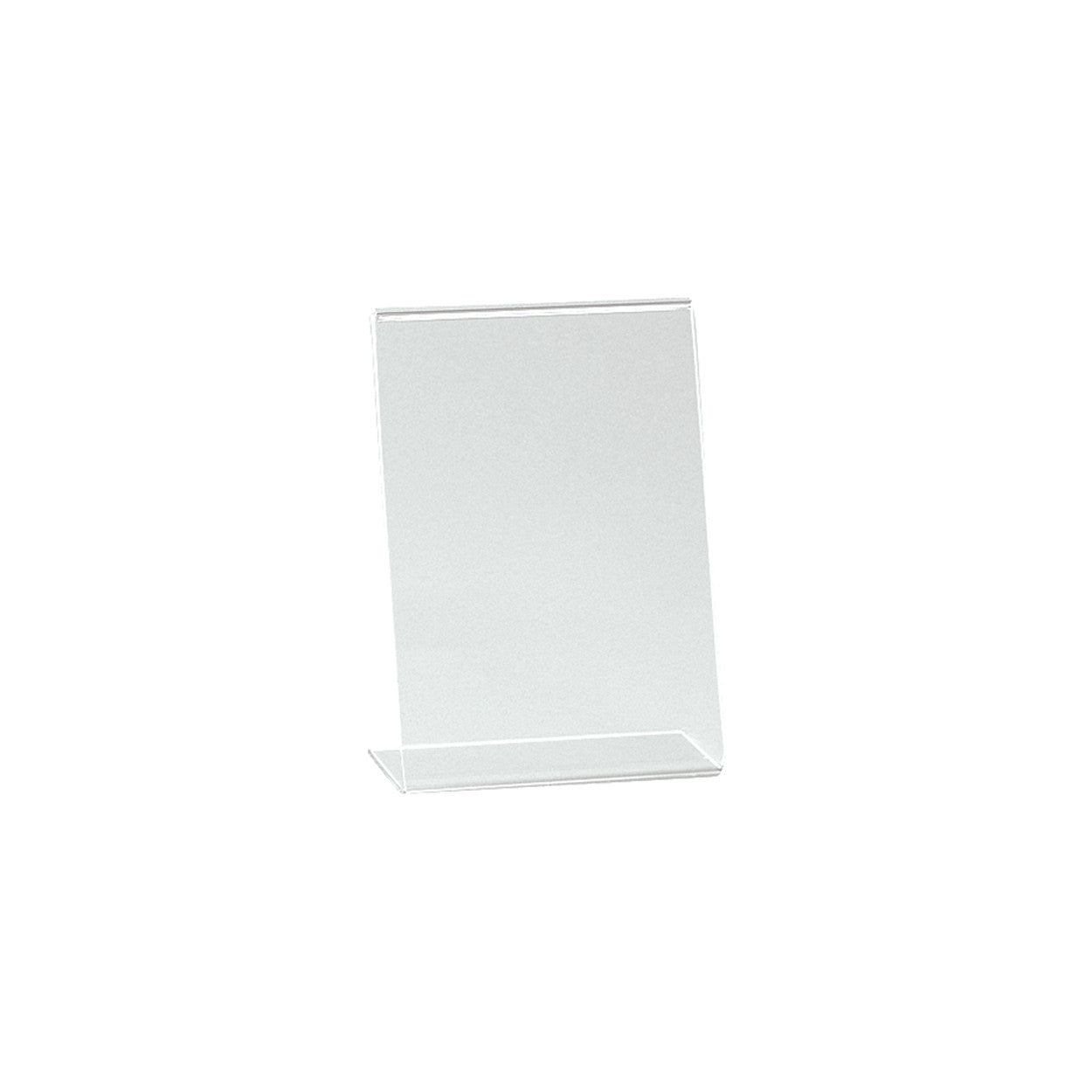 Single sided angled acrylic sign holder  A6 Portrait with 60 mm D Base T2711CA