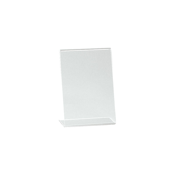 Angled Acrylic Sign Holder Single Sided Display A6 Portrait With 60Mm D Base