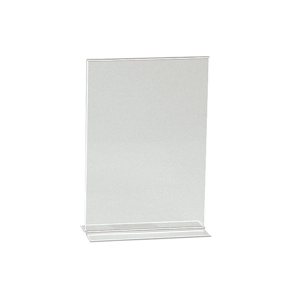 Vertical Acrylic Sign Holder Double Sided Display A5 Portrait With 70Mm D Base