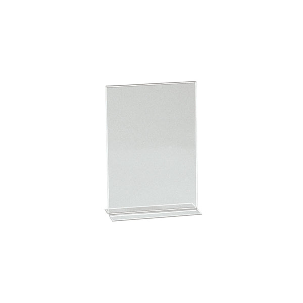 Vertical Acrylic Sign Holder Double Sided Display A6 Portrait With 70Mm D Base