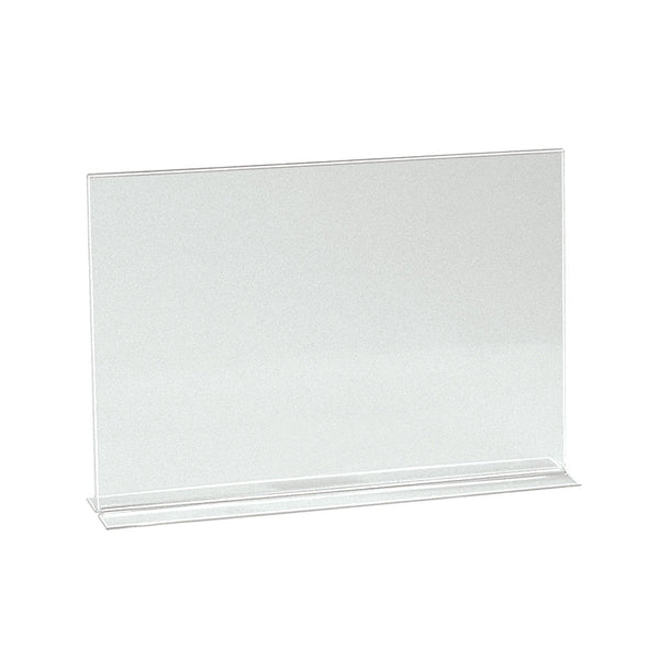 Vertical Acrylic Sign Holder Double Sided Display A4 Landscape With 70Mm D Base