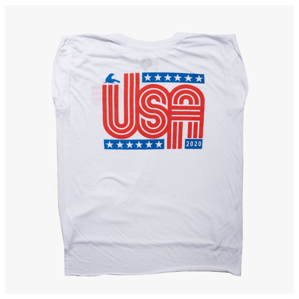 WOMEN'S RETRO USA MUSCLE TANK // WHITE