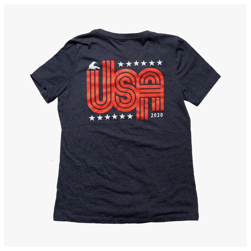 WOMEN'S RETRO USA RELAXED V NECK // NAVY HEATHER