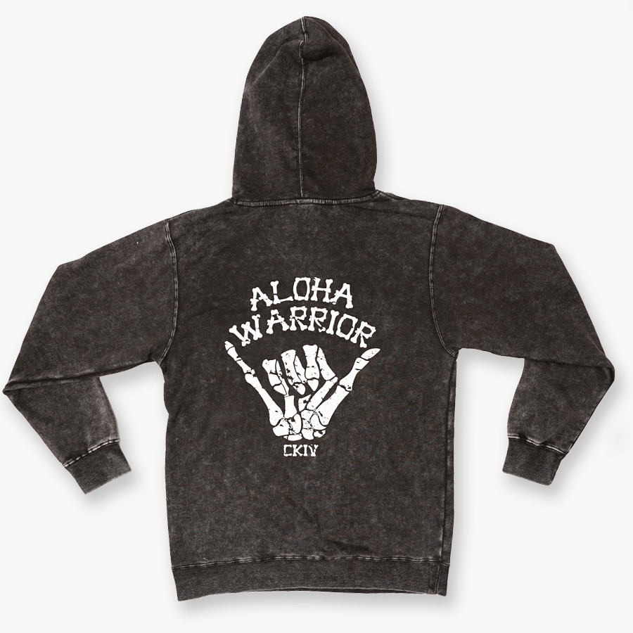 ALOHA WARRIOR HOODY // MINERAL WASH BLACK