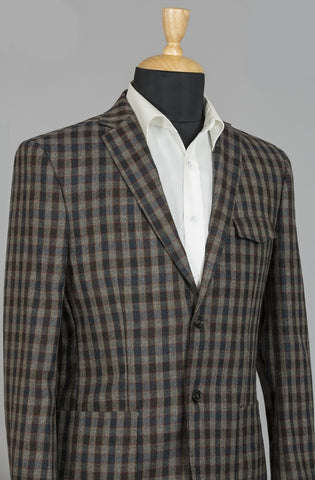 BROWN & BLUE CHECKERED ROME JACKET