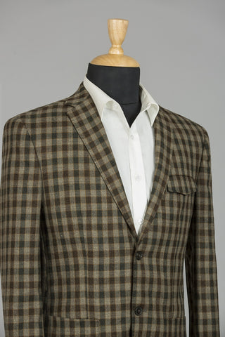 BROWN & DARK BROWN CHECKERED ROME JACKET