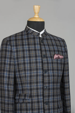 LIGHT BLUE & BLACK CHECKERED AMRITSAR BANDHGALA JACKET