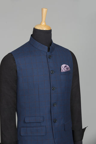 INK BLUE SLEEVELES BANGALORE BANDHGALA VEST