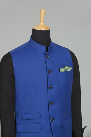 ROYAL BLUE SLEEVELES BANGALORE BANDHGALA VEST