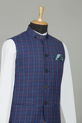 BLUE & RED CHEQUERED SLEEVELESS BANDHGALA