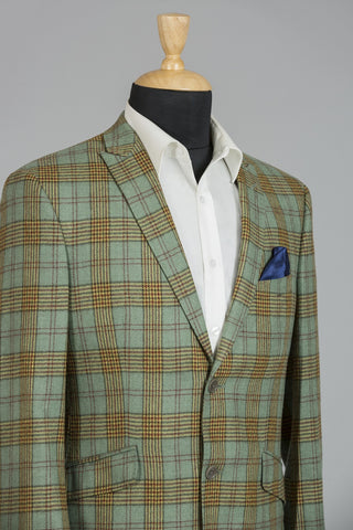 SEA GREEN & MAROON CHEQUERED MILANO JACKET