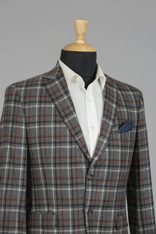 GREY & RED CHECKERED LONDON JACKET