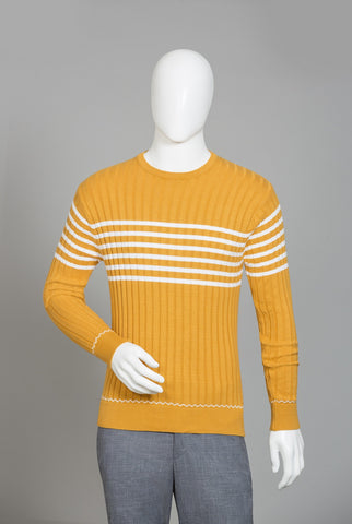 RAW YELLOW ROUND NECK SWETAER