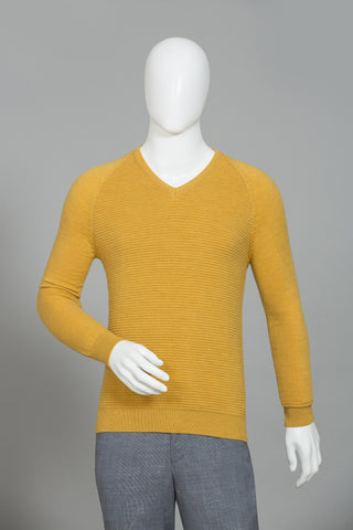 FIELD YELLOW V-NECK SWEATER