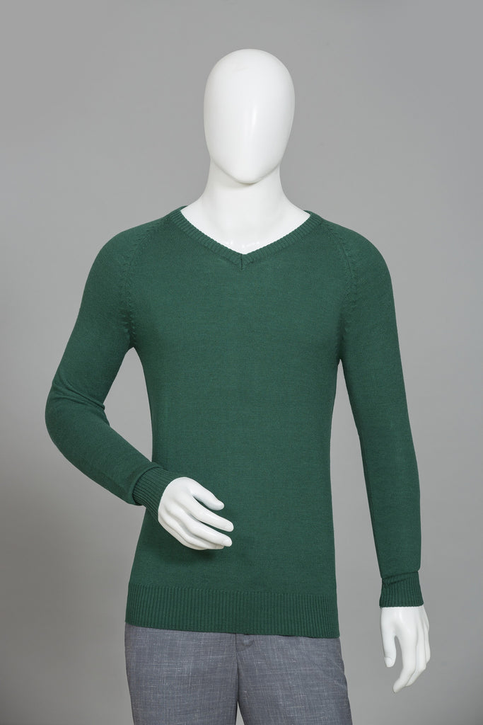 ENGLISH GREEN V-NECK SWEATER