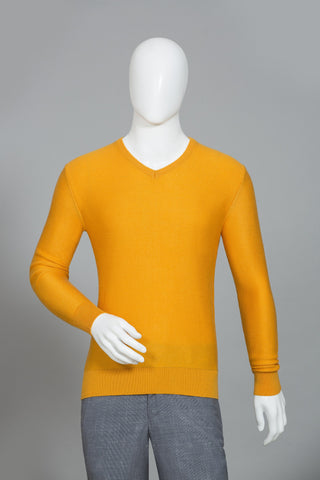 RAW YELLOW V-NECK SWEATER