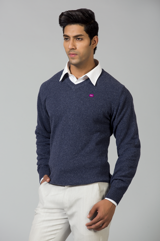 DARK GREY MELANGE V NECK SWEATER