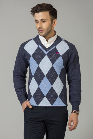 DARK GREY AND SKY BLUE V-NECK SWEATER