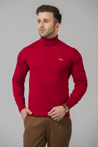 SCARLET RED TUTRLE NECK SWEATER