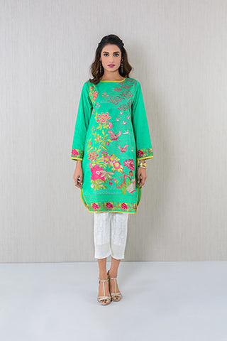 Boat neck embroidered Kurta