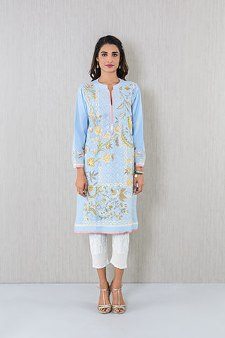 Lilac printed and embroidered Kurta