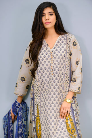 Band collar printed Kurta