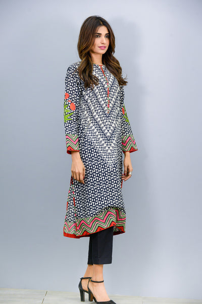 Black colour printed and embroidered Kurta