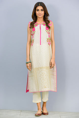 Sleeveless embroidered Kurta