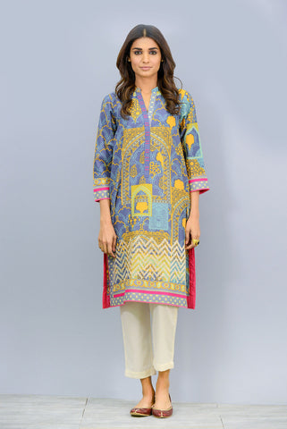 Band collar embroidered Kurta