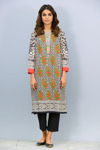 Full sleeves printed and embroidered Kurta