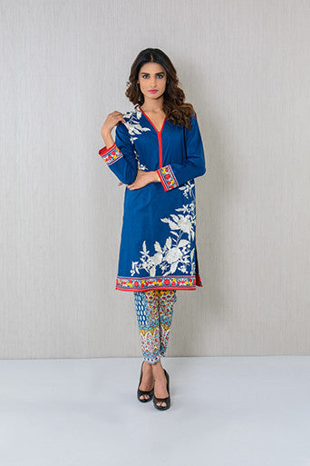 EMBROIDERED KURTA AND PRINTED PAJAMA