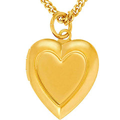 Inlaid Heart Gold Locket Necklace