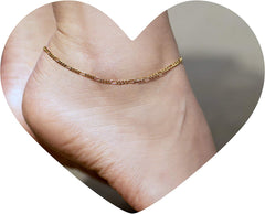 Gold Plated 1.5mm Anklet Figaro Chain worn in woman's ankle