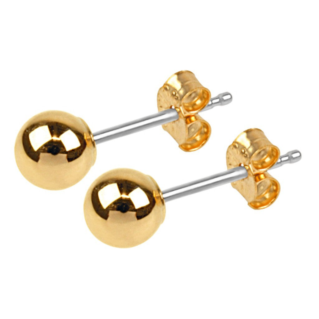 Gold Plated 5mm Round Ball Stud Earrings