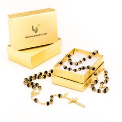 Gold Plated Rosary Necklace, Black Crystal Prayer Beads with boxes