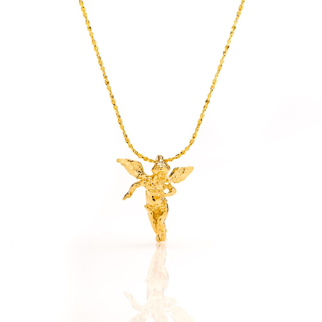 Gold plated Cherub Angel, Pendant Necklace