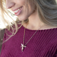 woman wearing Cherub Angel, Pendant Necklace