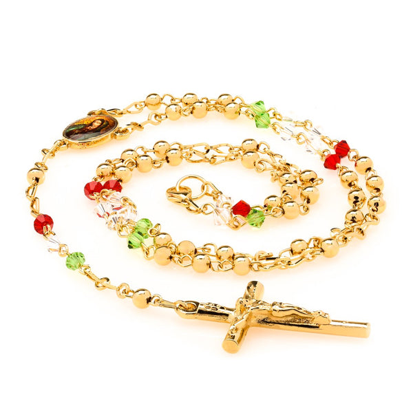 Rosary Necklace, Colorful Crystal Prayer Beads
