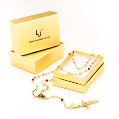 Gold Plated Rosary Necklace, Colorful Crystal Prayer Beads in a box