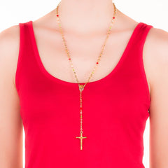 Woman wearing Gold Plated Rosary Necklace, Colorful Crystal Prayer Beads