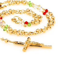Gold Plated Rosary Necklace, Colorful Crystal Prayer Beads