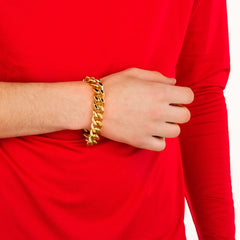 Gold Plated 15mm Cuban Link Bracelet worn by a guy in red as his bracelet