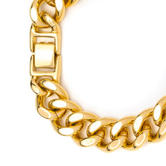 Gold Plated 15mm Cuban Link Bracelet