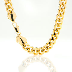 Gold Plated 11mm Gold Cuban Link Chain with quality tag and durable lobster clasp