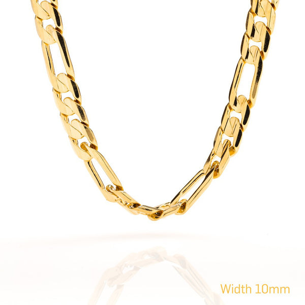 gold plated 9mm Figaro Chain
