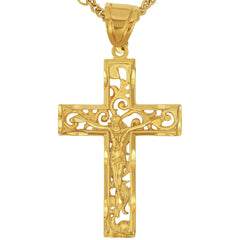 Gold Plated Large Filigree Cross